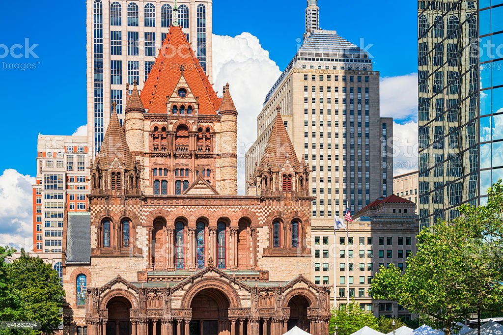 Trinity Church on Copley Square in Boston Massachusetts USA stock photo