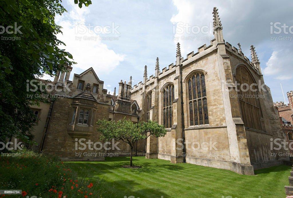 Trinity College and Newtons Apple Tree, Cambridge. stock photo