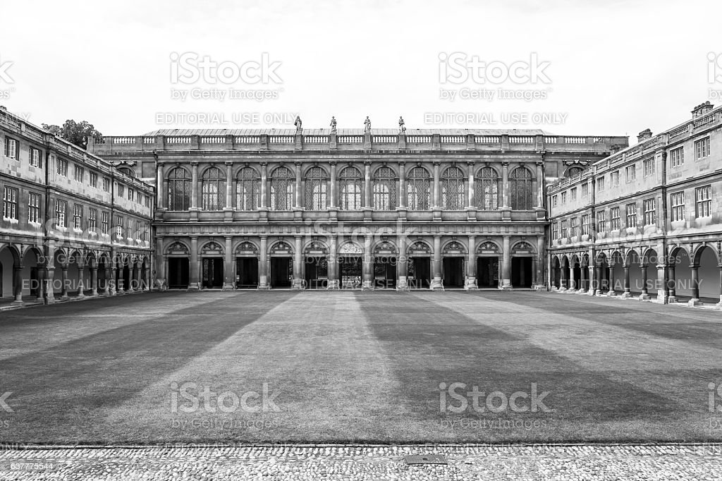 Trinity College in Cambridge University in black and white. UK royalty-free stock photo