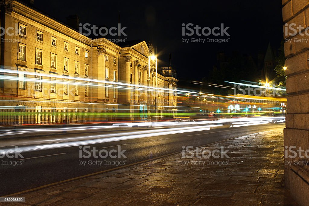 Trinity College Light Trails stock photo