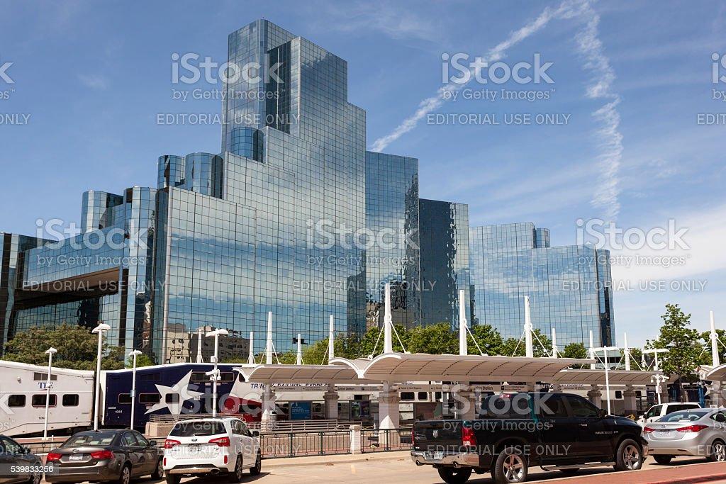 Trinity Railway Express in Dallas Downtown, USA stock photo