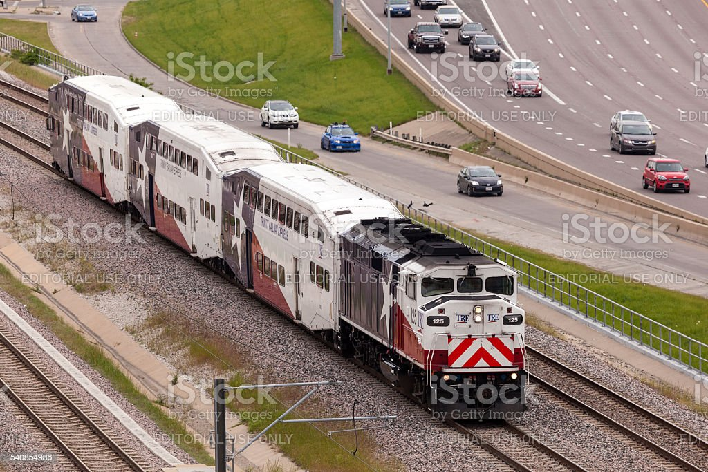 Trinity Railway Express Train in Dallas stock photo