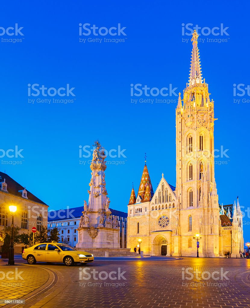 Trinity Square and Matthias Church in Budapest Hungary stock photo