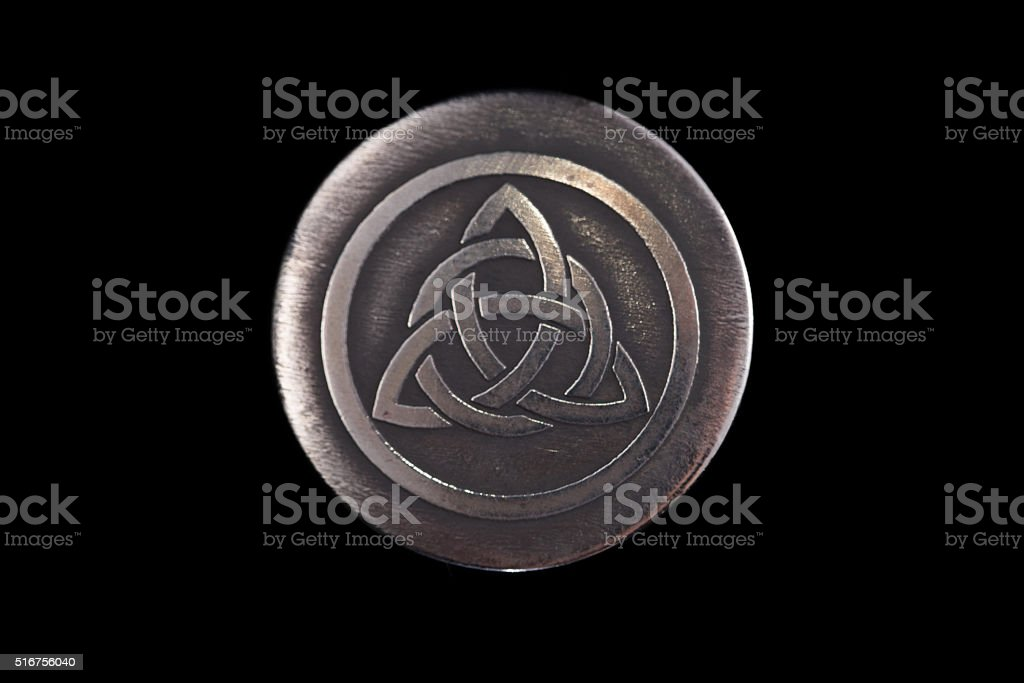Trinity. The ancient symbol of the unity spirit, soul and stock photo