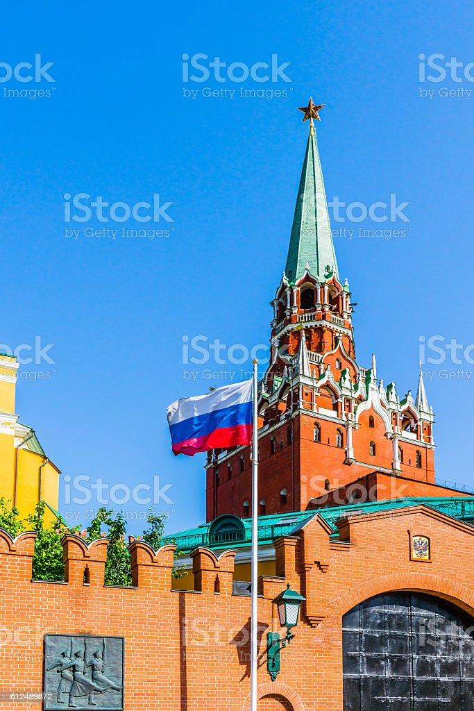 Trinity tower of Moscow Kremlin, Russian flag stock photo