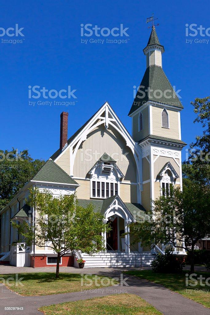 Trinity United Methodist Church in Oak Bluffs, Martha's Vineyard, Massachusetts. stock photo
