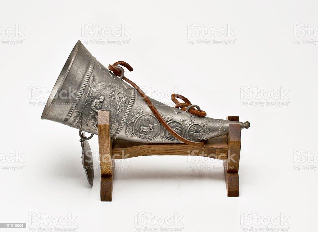 Trinkhorn aus Zinn stock photo