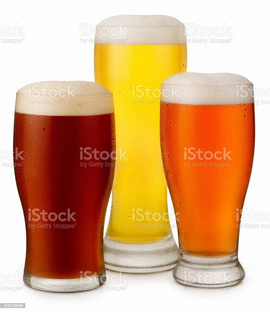 Trio Of Beers with Water Dropplets stock photo