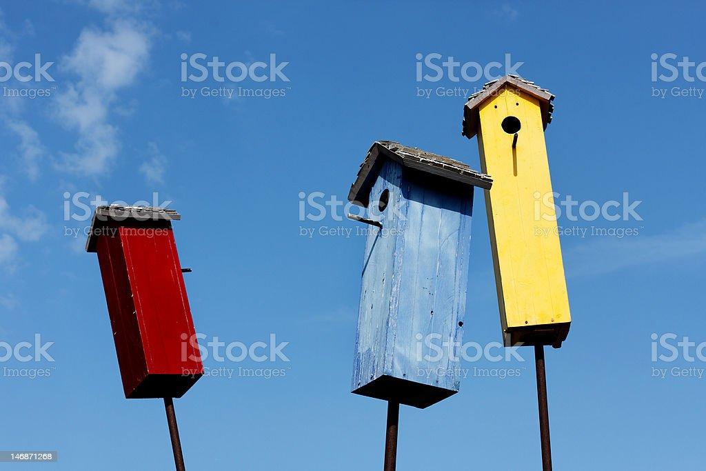 Trio of Bird Houses royalty-free stock photo
