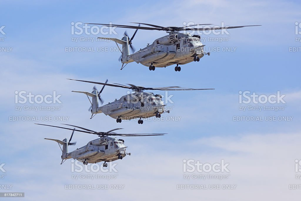 Trio of CH-53 Super Stallion Helicopter stock photo