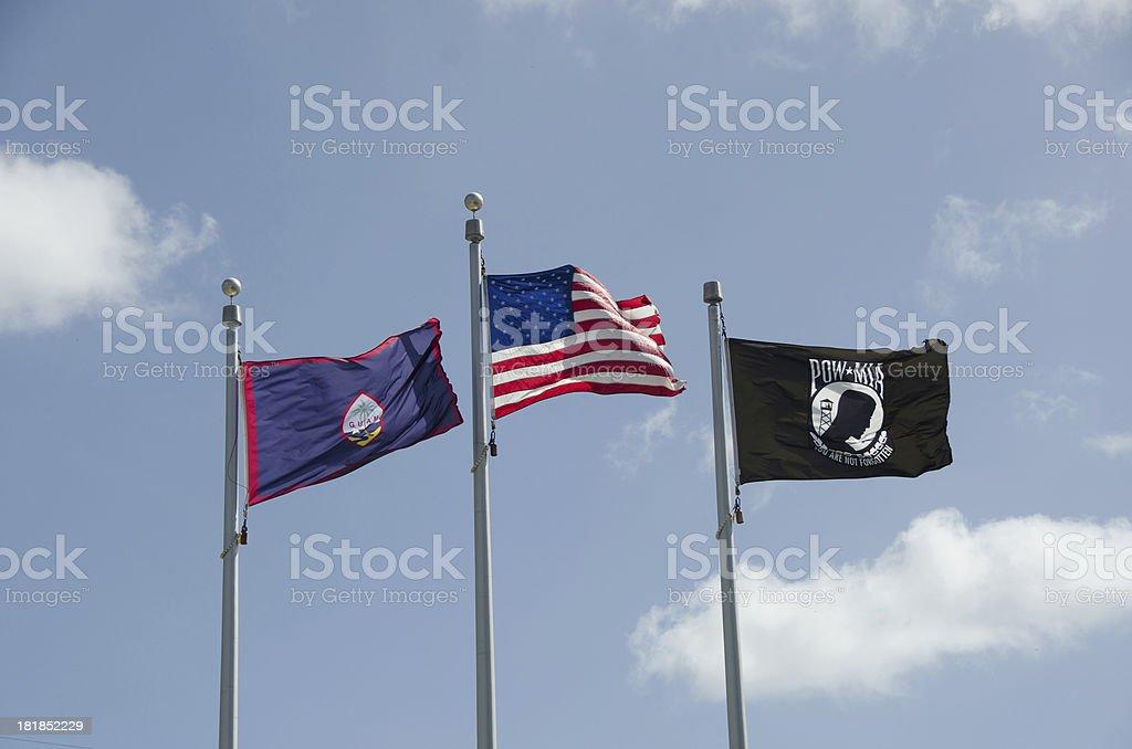 Trio of Flags stock photo