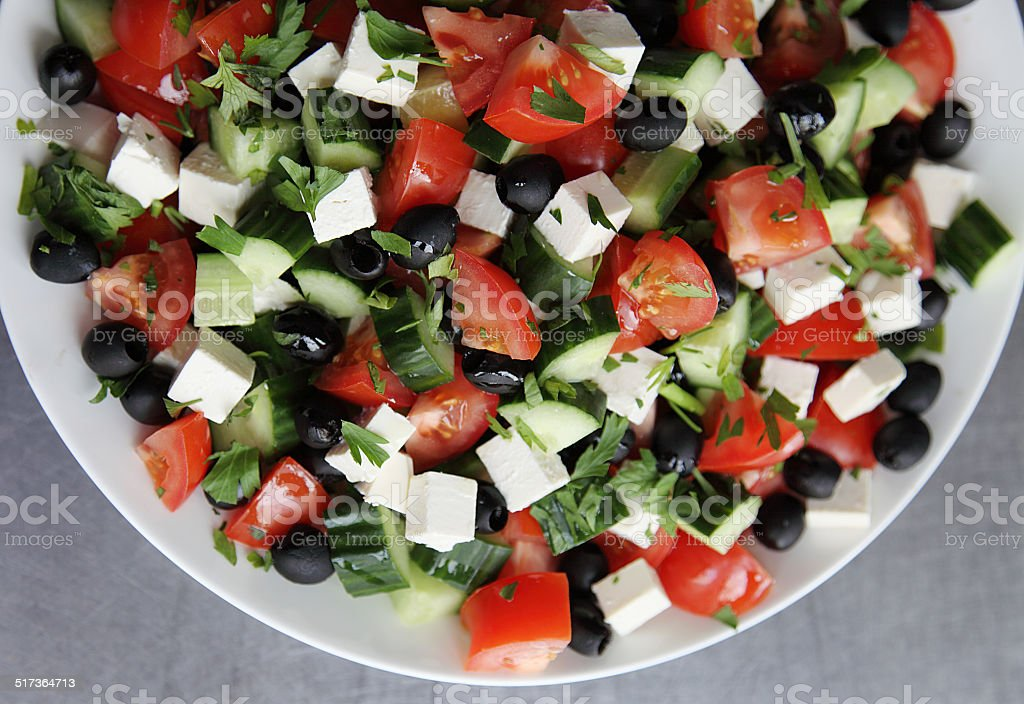 Trio of fresh salads stock photo