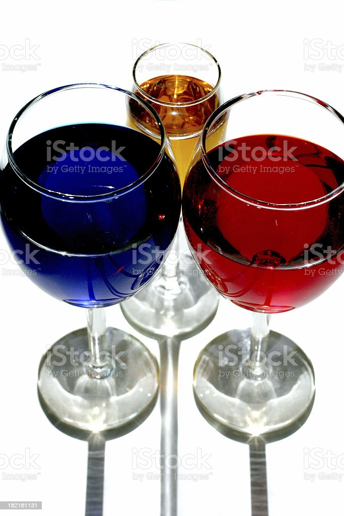 Trio of glasses royalty-free stock photo