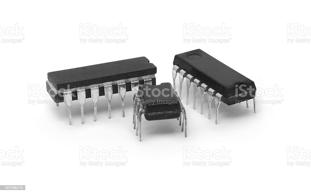 trio of integrated circuits royalty-free stock photo