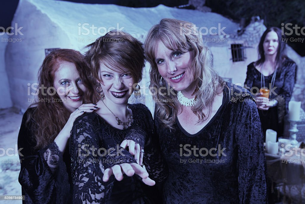 Trio of Modern Witches stock photo