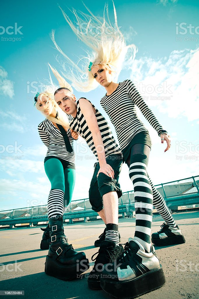 Trio of Punk Teenagers Outside royalty-free stock photo