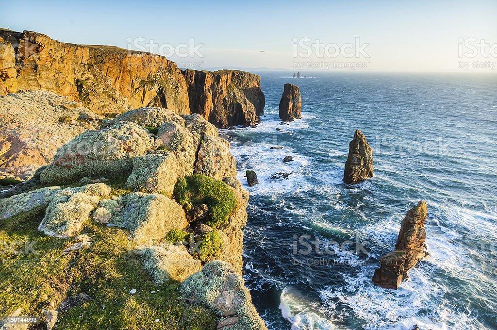 Trio of sea stacks  Brae Wick Esha Ness Shetland Scotland royalty-free stock photo