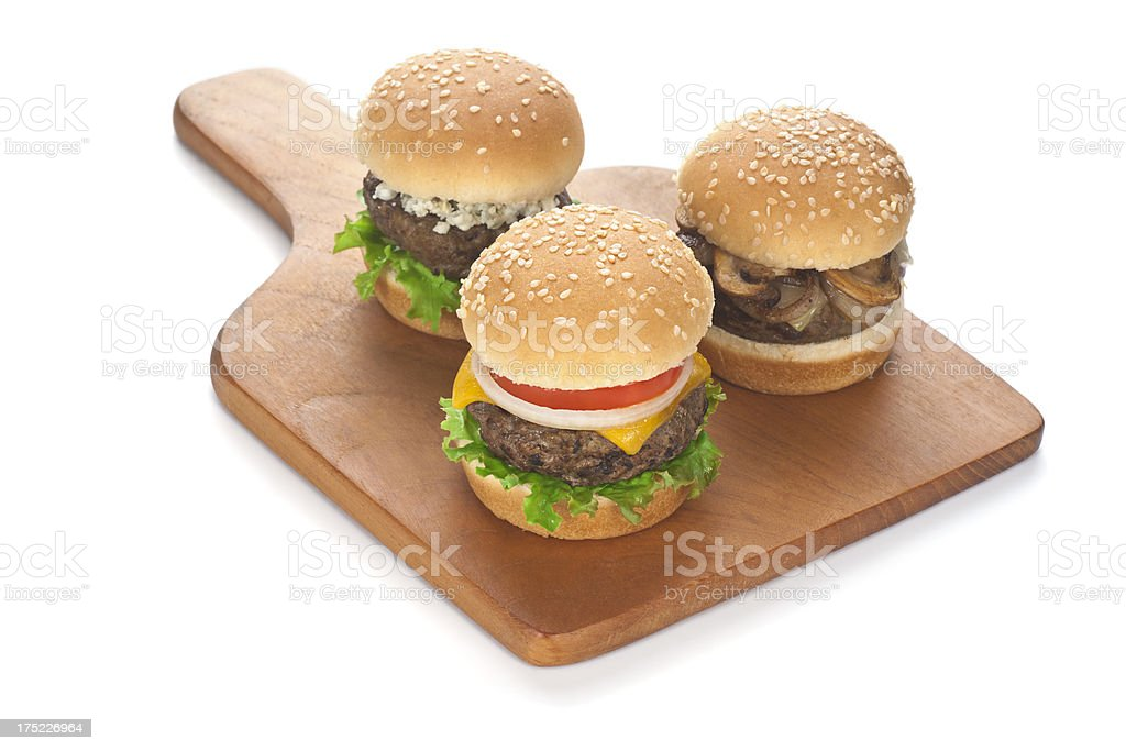 Trio of Sliders on Cutting Board stock photo