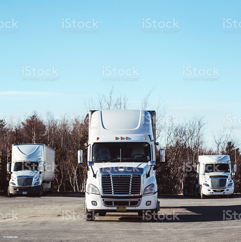 Trio of Transport Trucks stock photo