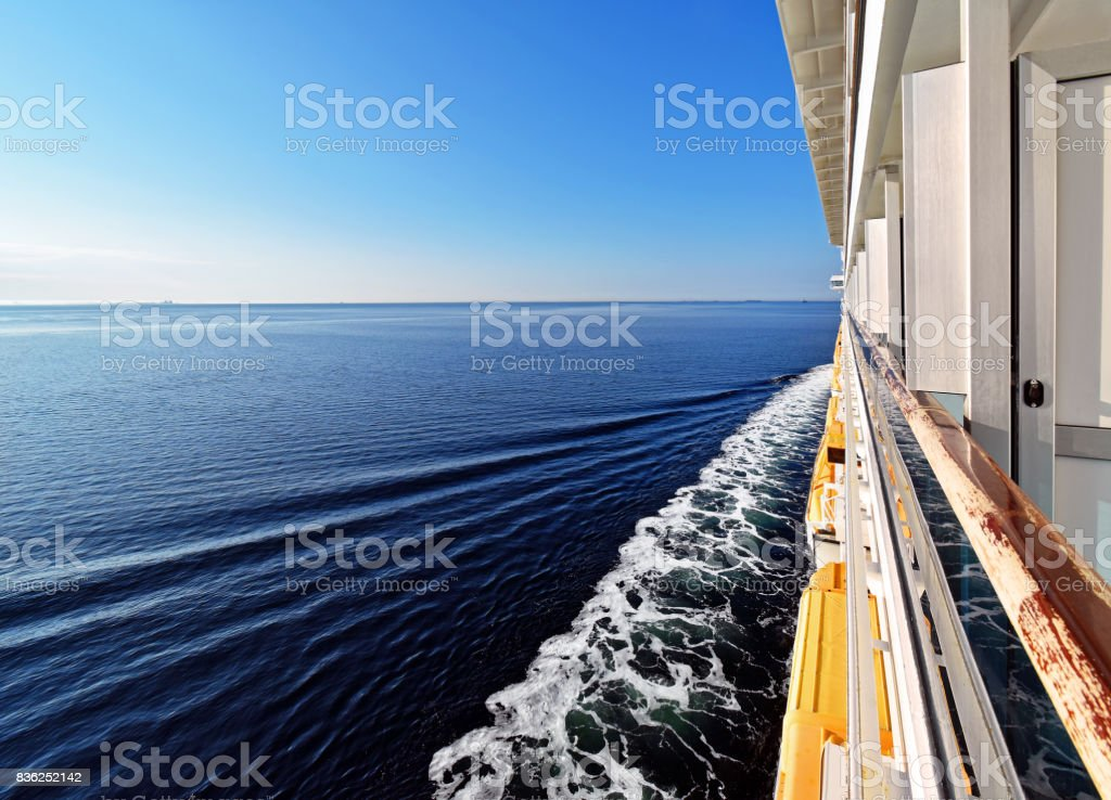 Trip across the sea on a ship stock photo