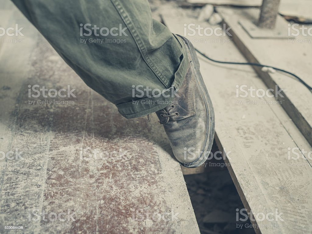Trip hazard on building site stock photo