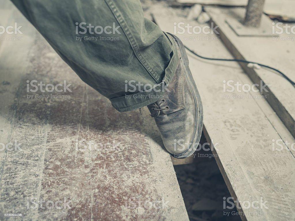 Trip hazard on building site stock photo