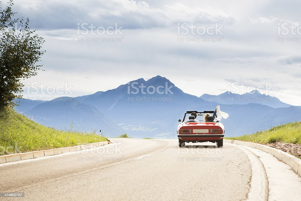 Trip in a cabriolet stock photo