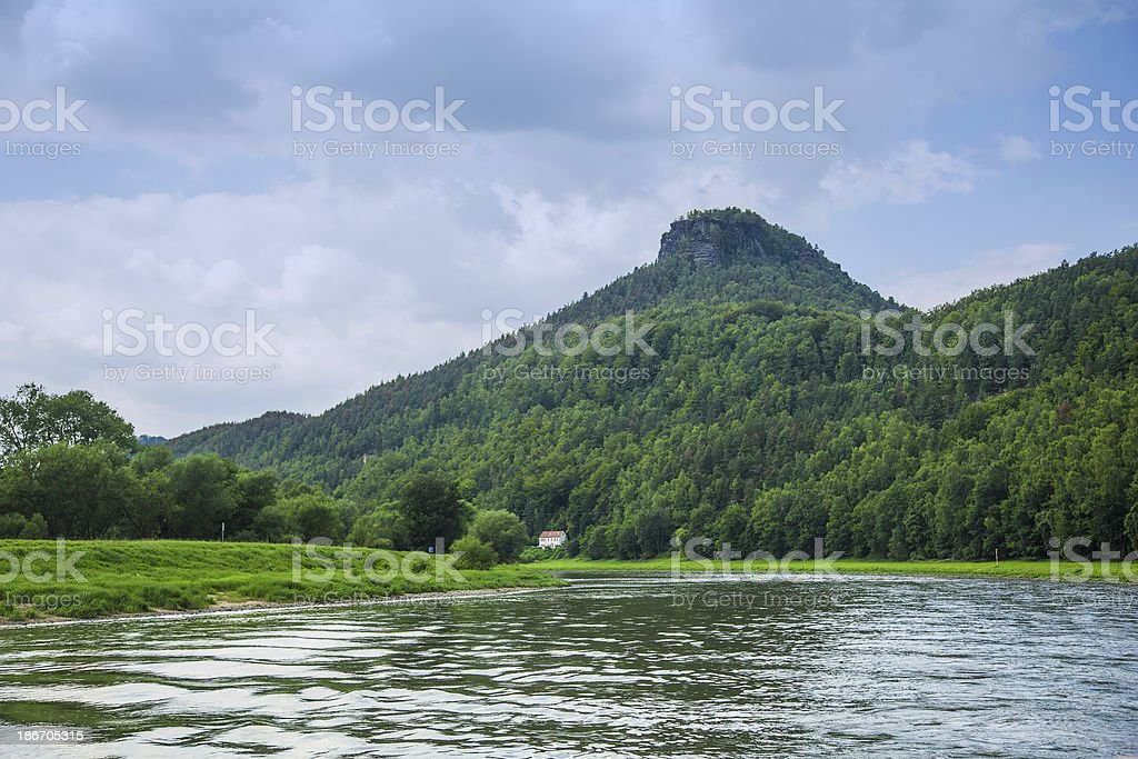 trip on Elbe river in national park stock photo