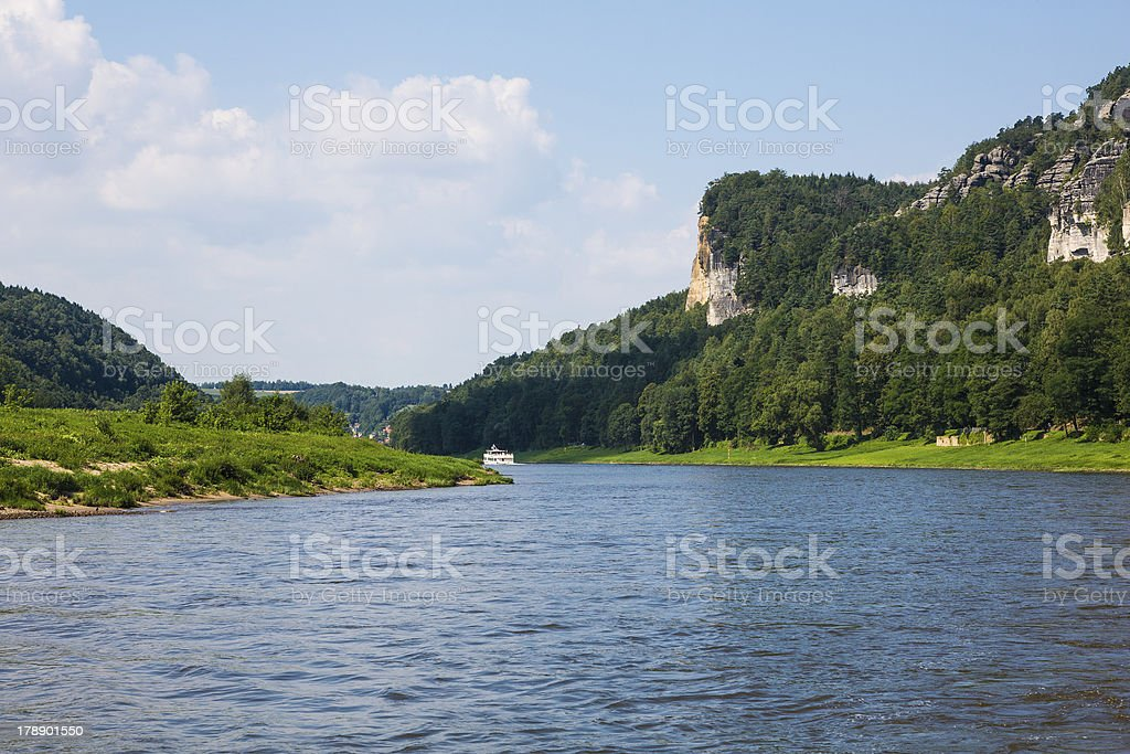 trip on Elbe river with steamboat stock photo