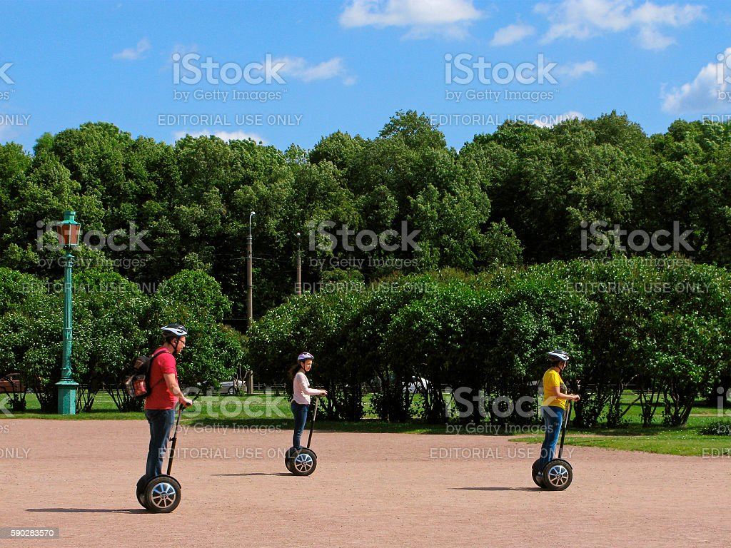 Trip on segway in the park stock photo