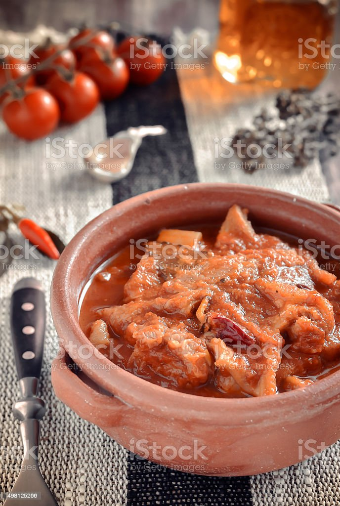 Tripe soup with tomatoes. Selective focus. stock photo