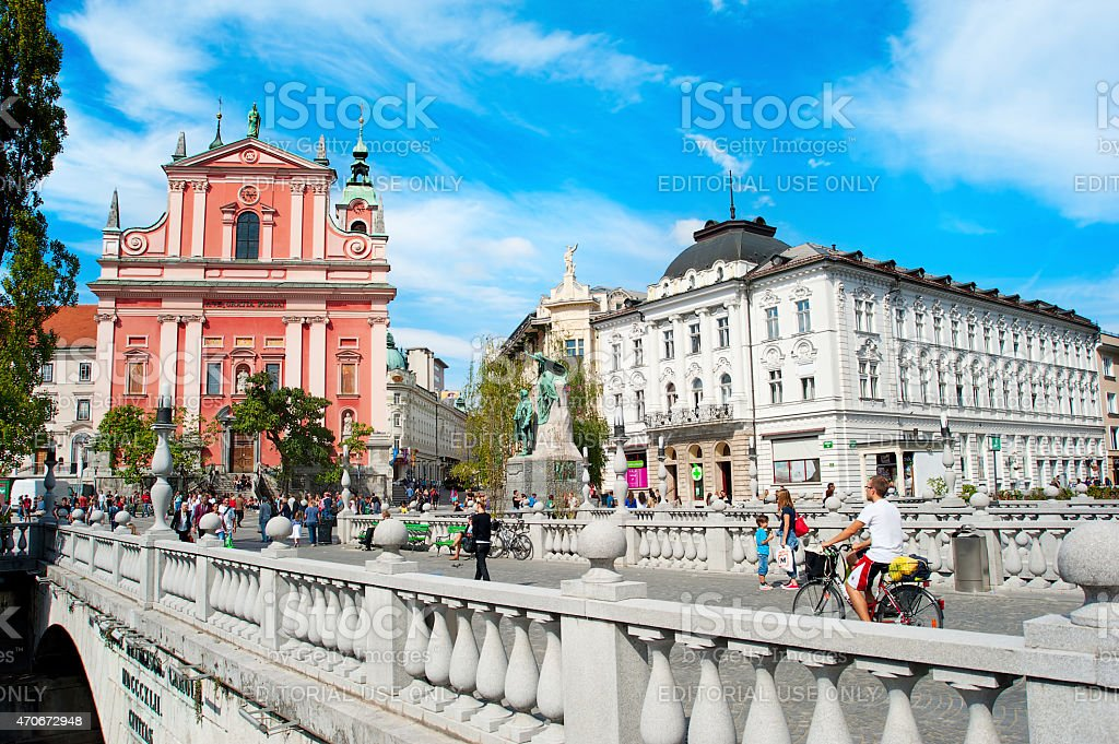 Triple Bridge and Preseren Square, Ljubljana stock photo