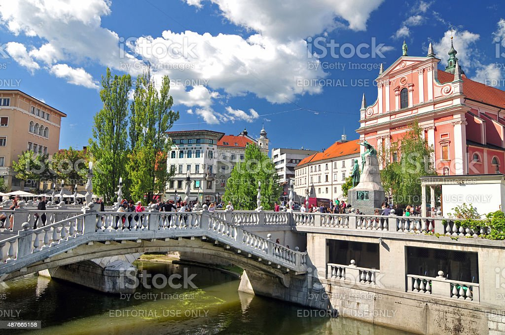Triple bridges and St. Franciscan church, Ljubljana, Slovenia stock photo