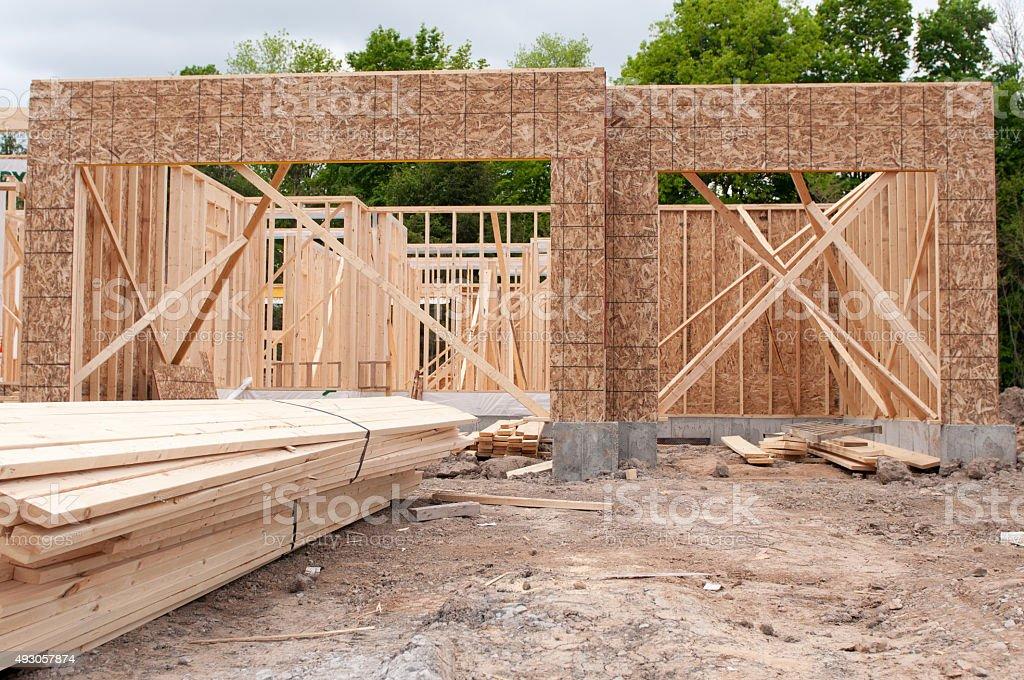 Triple Car Garage Construction - New Home stock photo