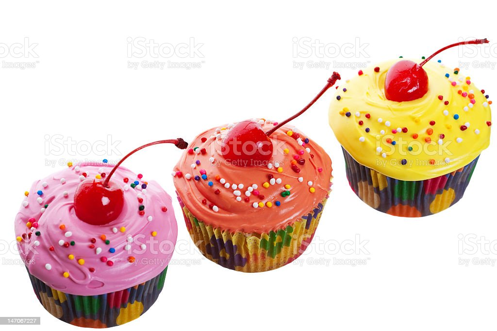 Triple Cherry Cupcakes royalty-free stock photo
