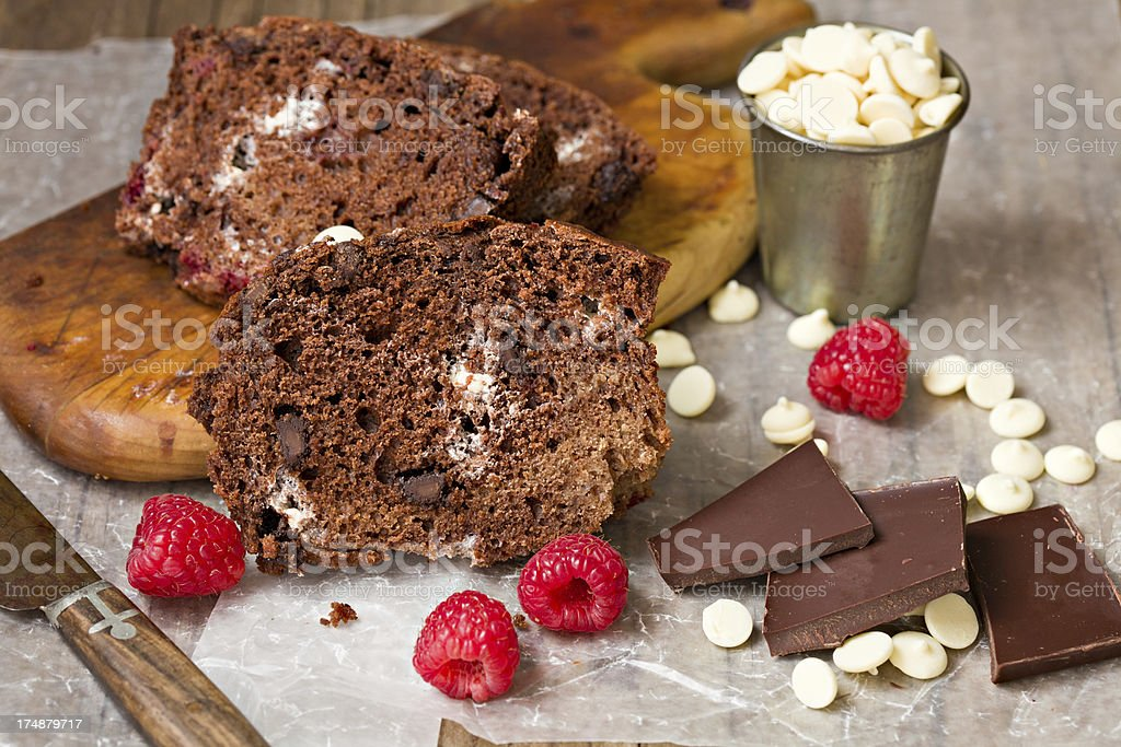 Triple Chocolate Raspberry Loaf Cake royalty-free stock photo