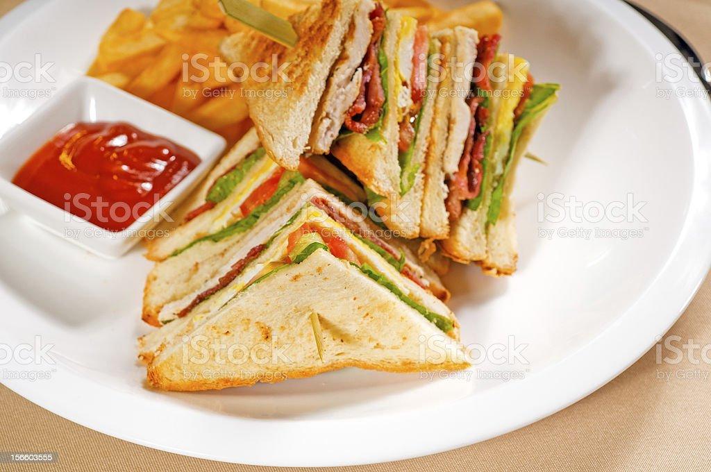 triple decker club sandwich royalty-free stock photo
