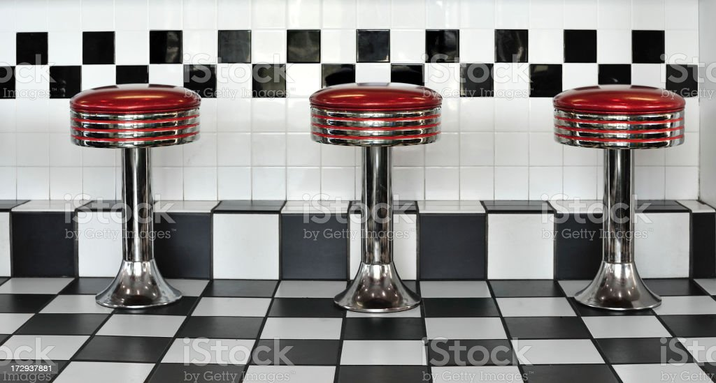 Triple diner stools stock photo