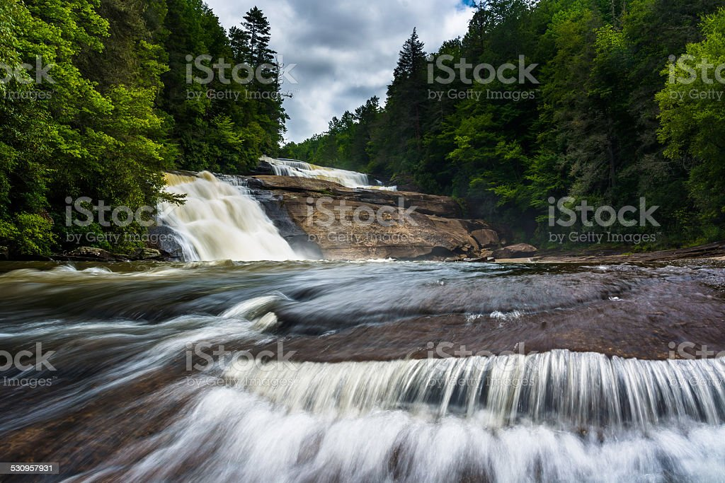 Triple Falls, in Dupont State Forest, North Carolina. stock photo