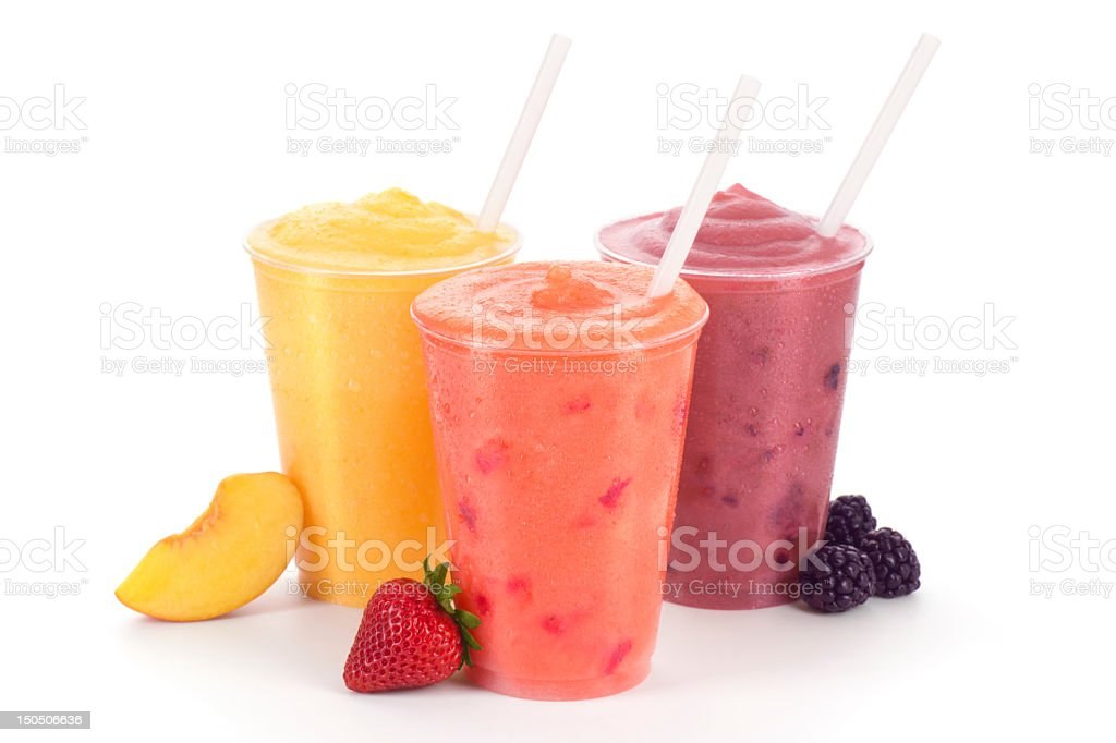 Triple Fruity Smoothie Treat - Peach, Strawberry, and Blackberry. stock photo