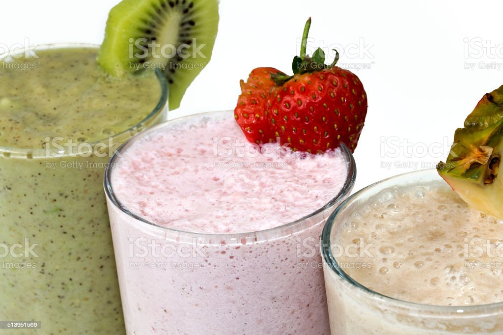 Triple fruity smoothie treat stock photo