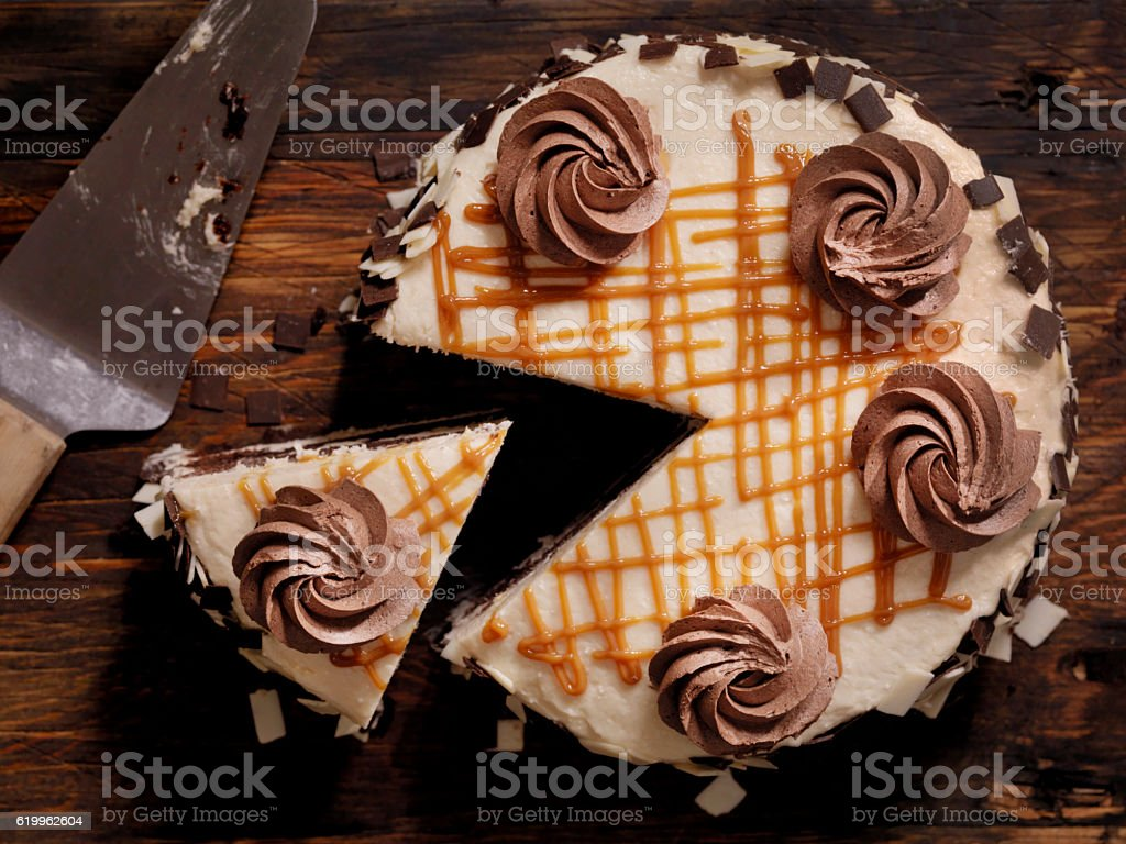 Triple Layer Chocolate Caramel Cake stock photo