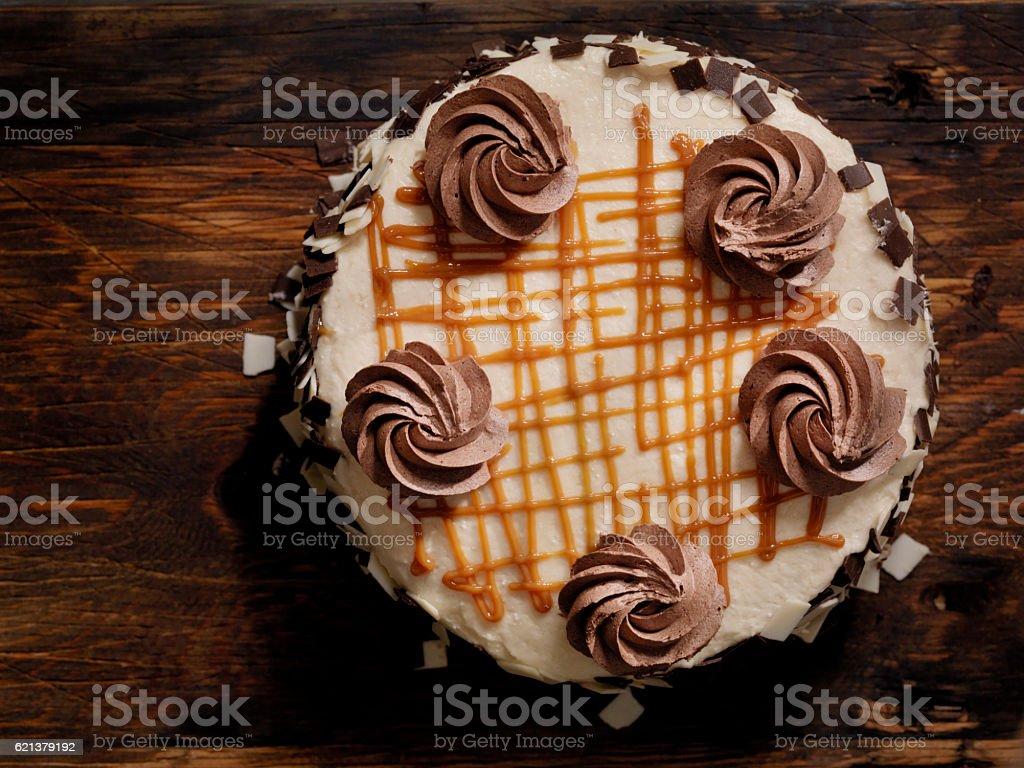 Triple Layer Chocolate Caramel Cake stock photo