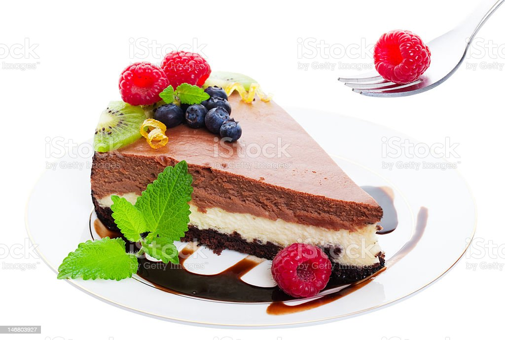 Triple Layer Chocolate Cheesecake royalty-free stock photo
