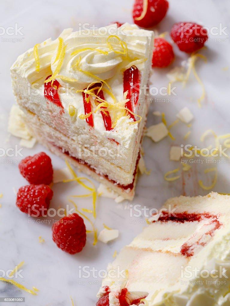 Triple Layered Lemon, Raspberry Cake stock photo