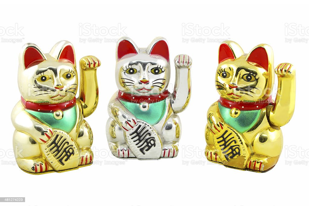 Triple Maneki Neko Japan Lucky Cat, Isolated with Clipping path stock photo