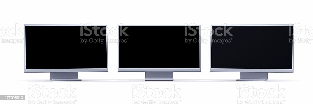 Triple Monitor royalty-free stock photo