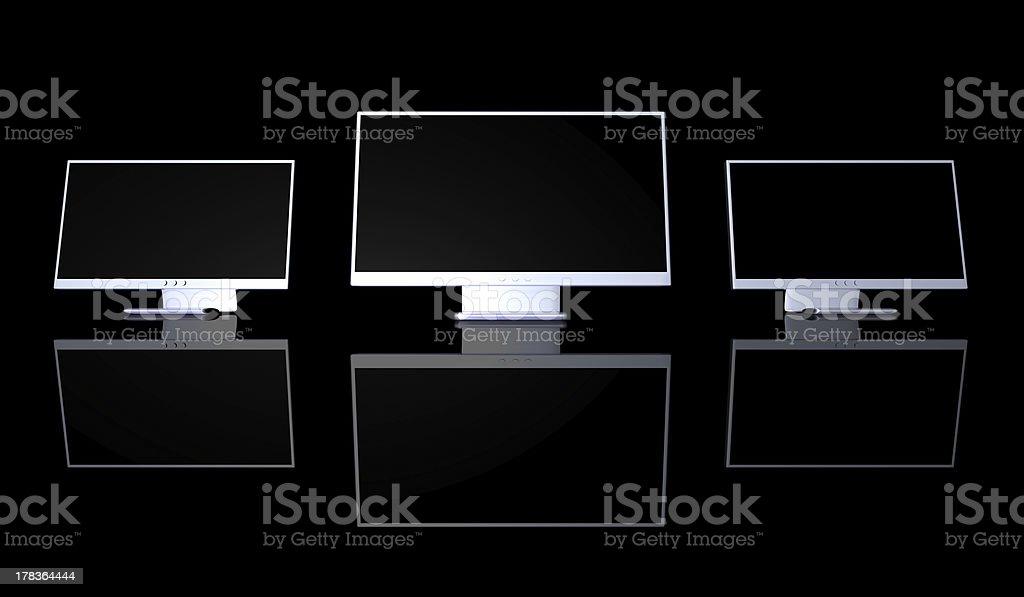 Triple Monitor Setup royalty-free stock photo