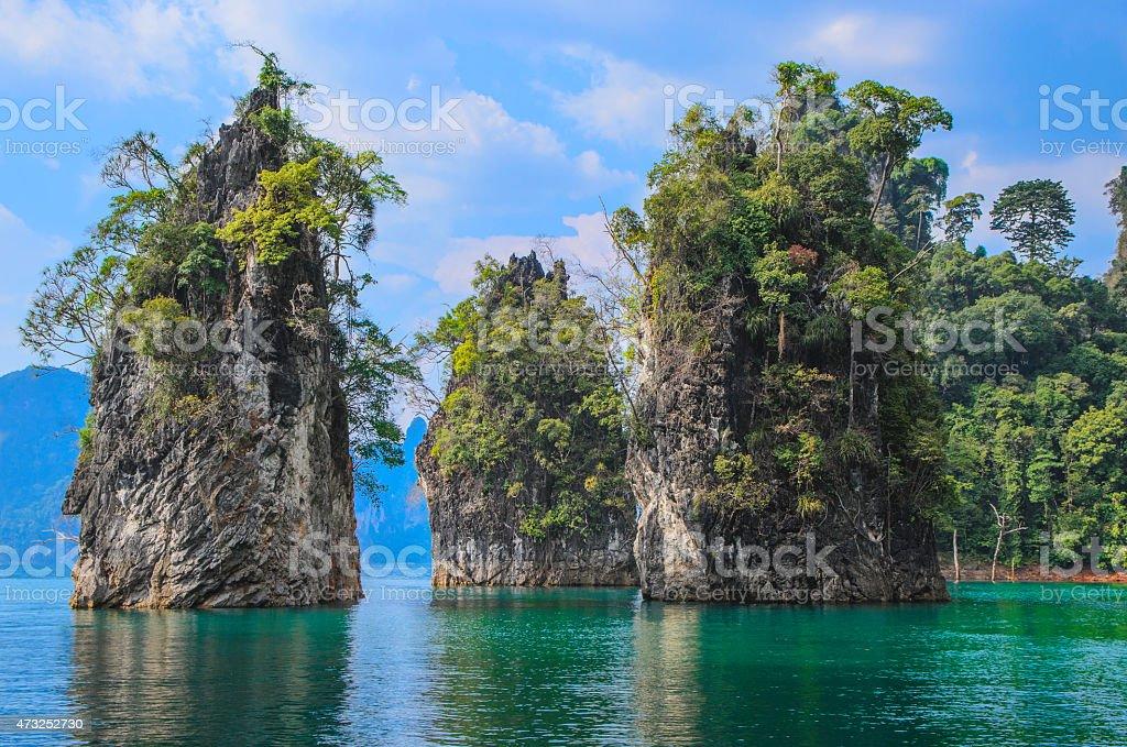 Triple mountains of lake stock photo