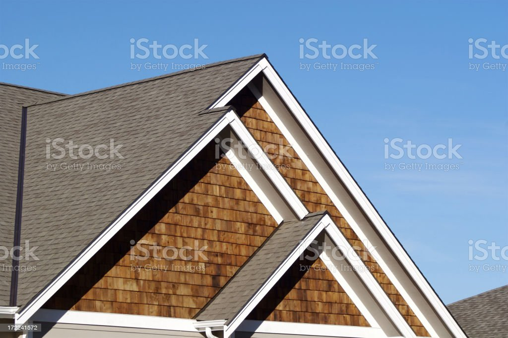 Triple Roof Peaks of Home royalty-free stock photo